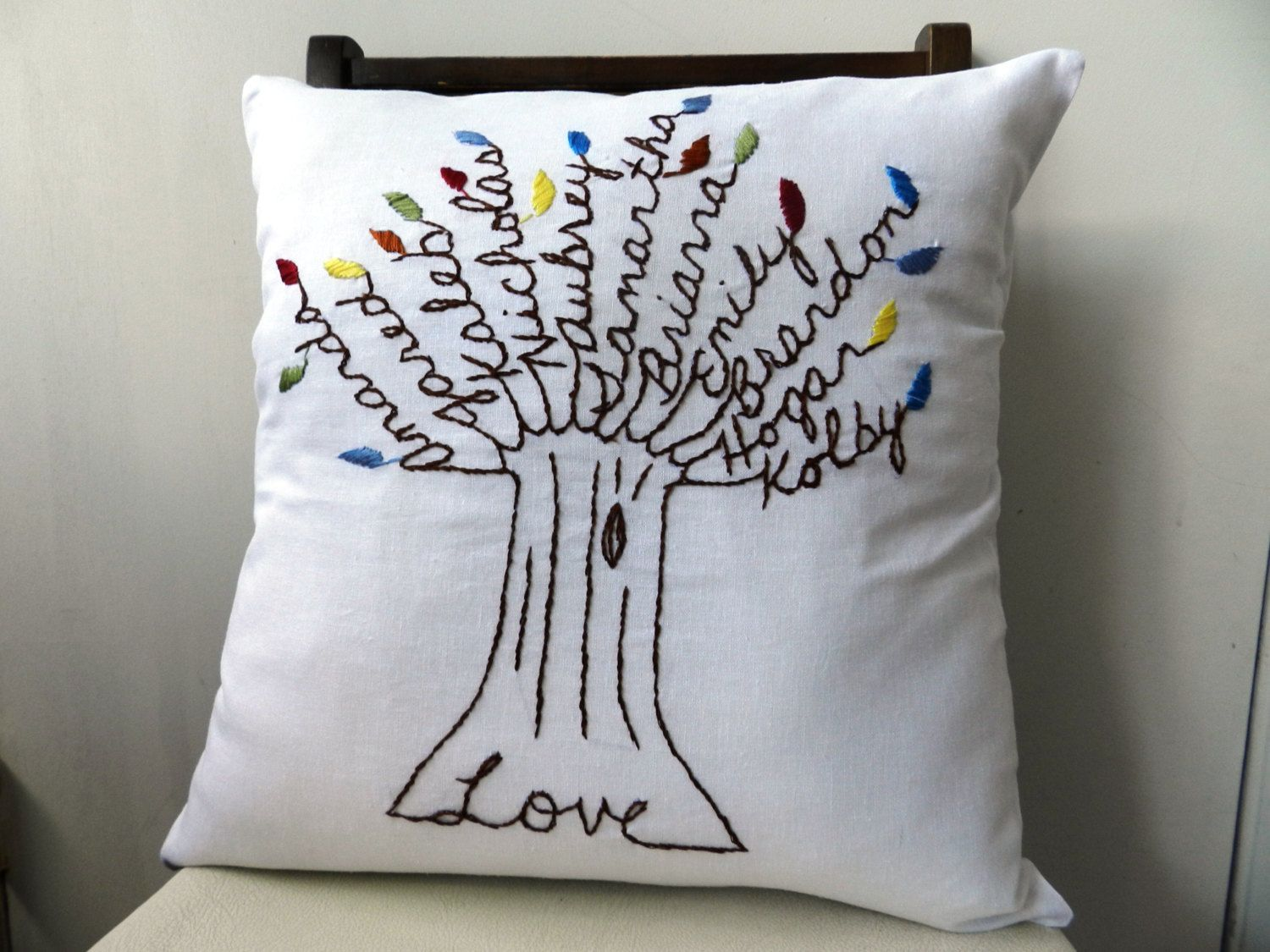 The Love Pillow Cover. 17 inch Pillow Cover. Mothers Day. Hand ...