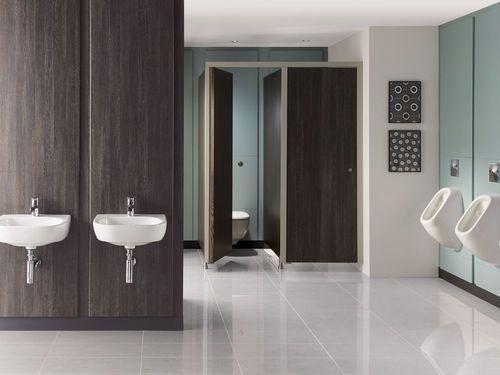 Washroom Wall Panel With Integrated Plumbing System IPS Venesta - Public bathroom wall panels