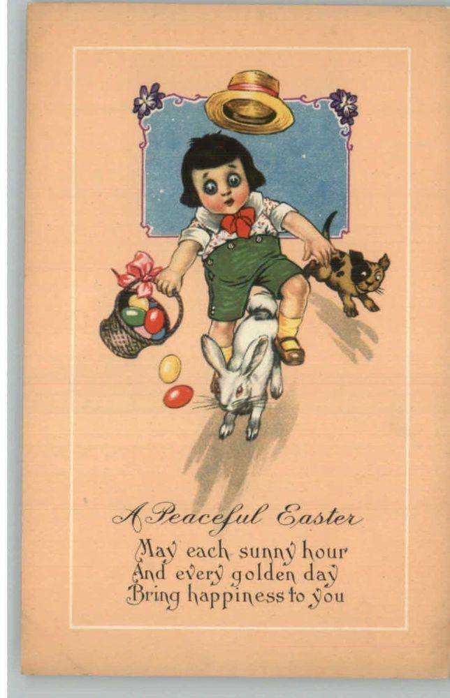 Easter - Cute Child Albino Rabbit & Dog c1910 Postcard