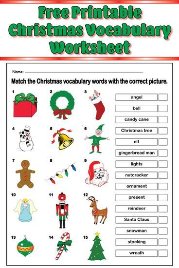 introduce christmas vocabulary words with this fun matching worksheet
