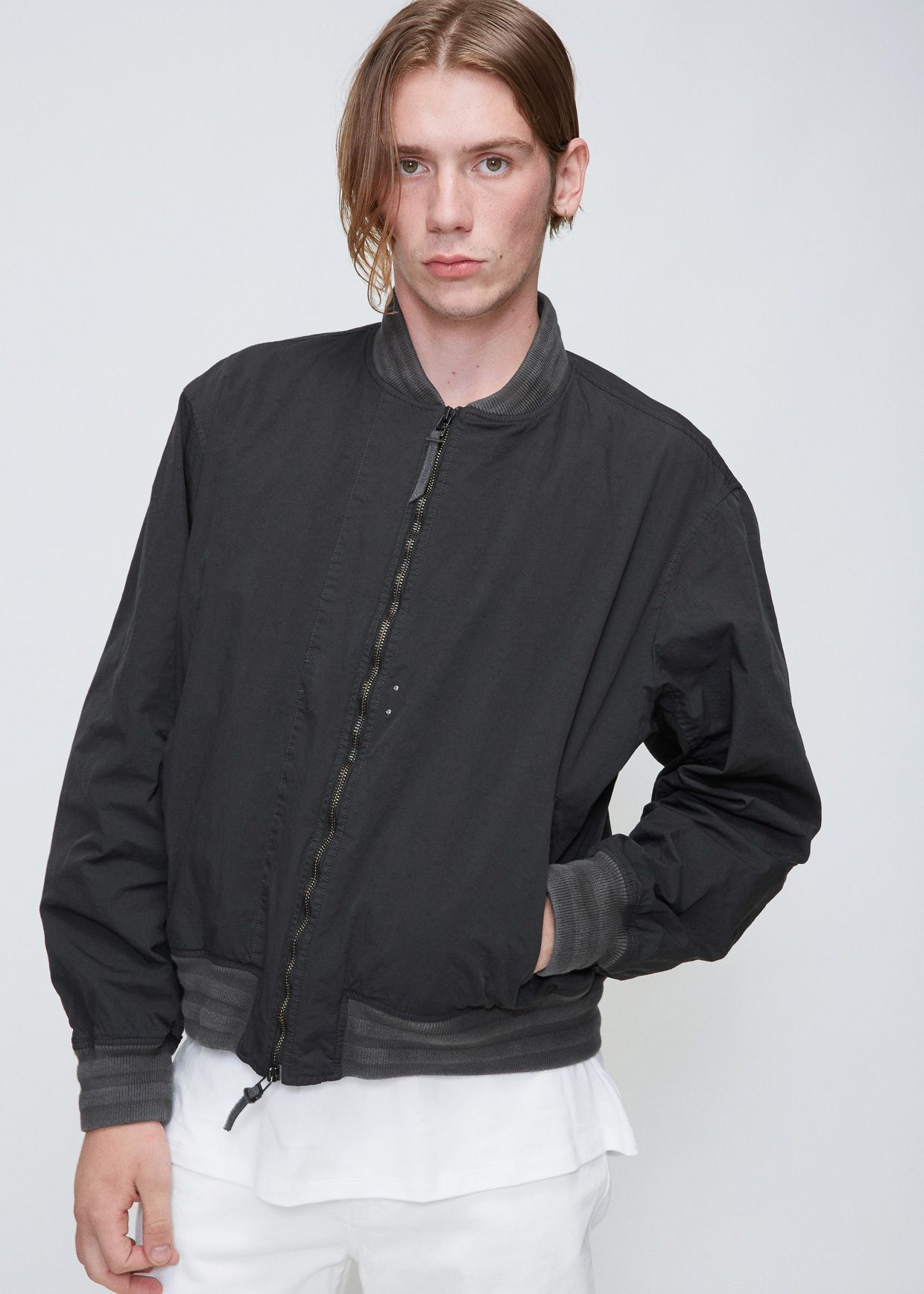 c1e2dfdea Robert Geller The Felix Nylon Bomber (Charcoal) | Jackets | Mens ...