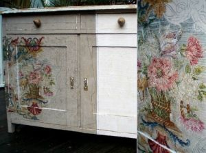 vintage embroidery covered dresser by rena