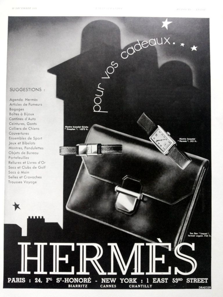 Hermes bag and watches vintage advertising 8679f5fa15889