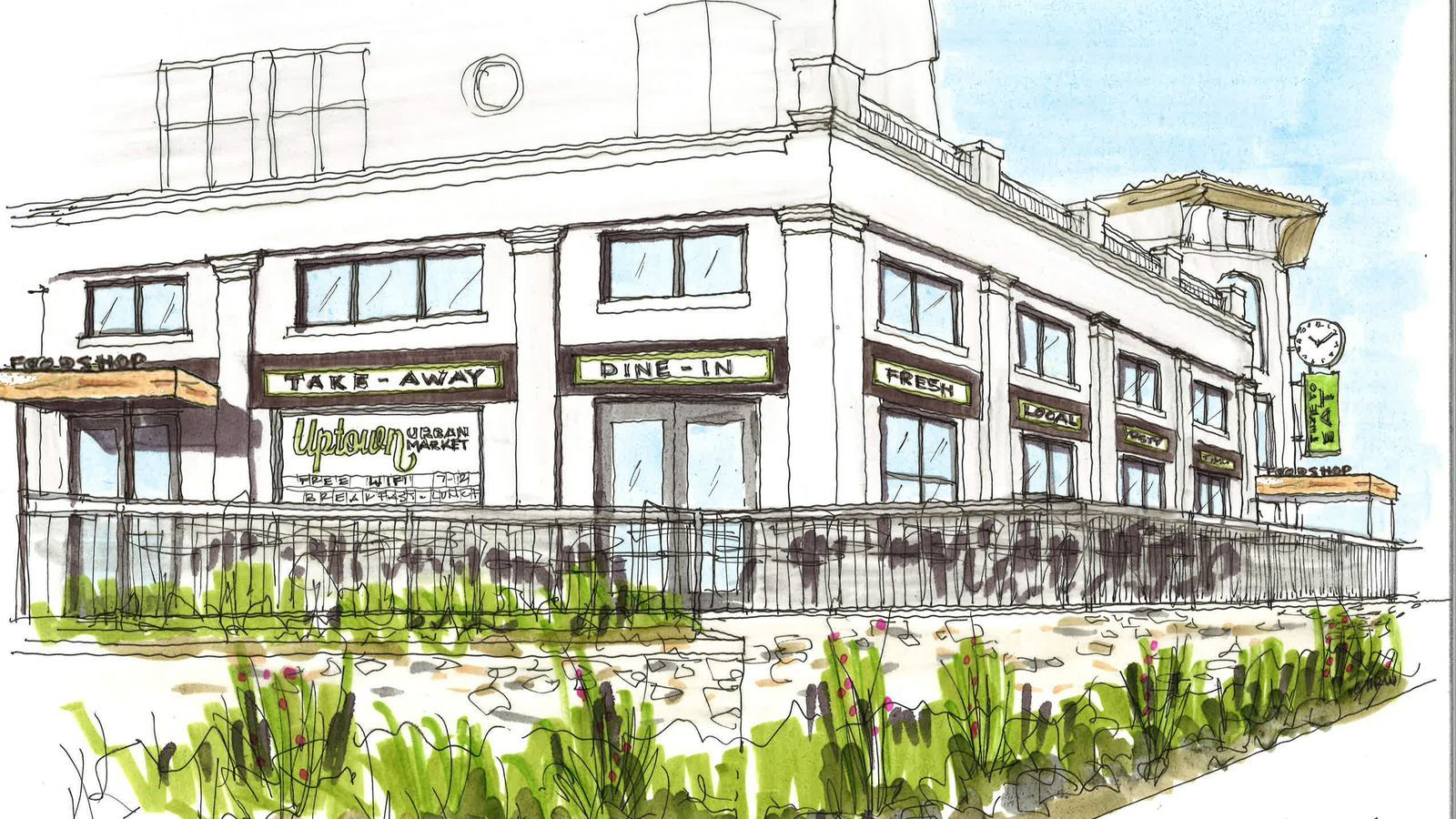 """Uptown Urban Market - at 2650 Cedar Springs Road, formerly home to Sfuzzi. """"six or seven strong, well-known concepts"""" to bring breakfast, lunch, and dinner to the swanky space."""