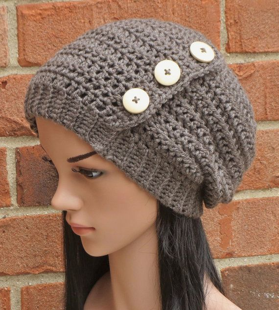 Crochet Slouchy Beanie Button Hat Womens // THE HADLEY // Taupe Grey ...