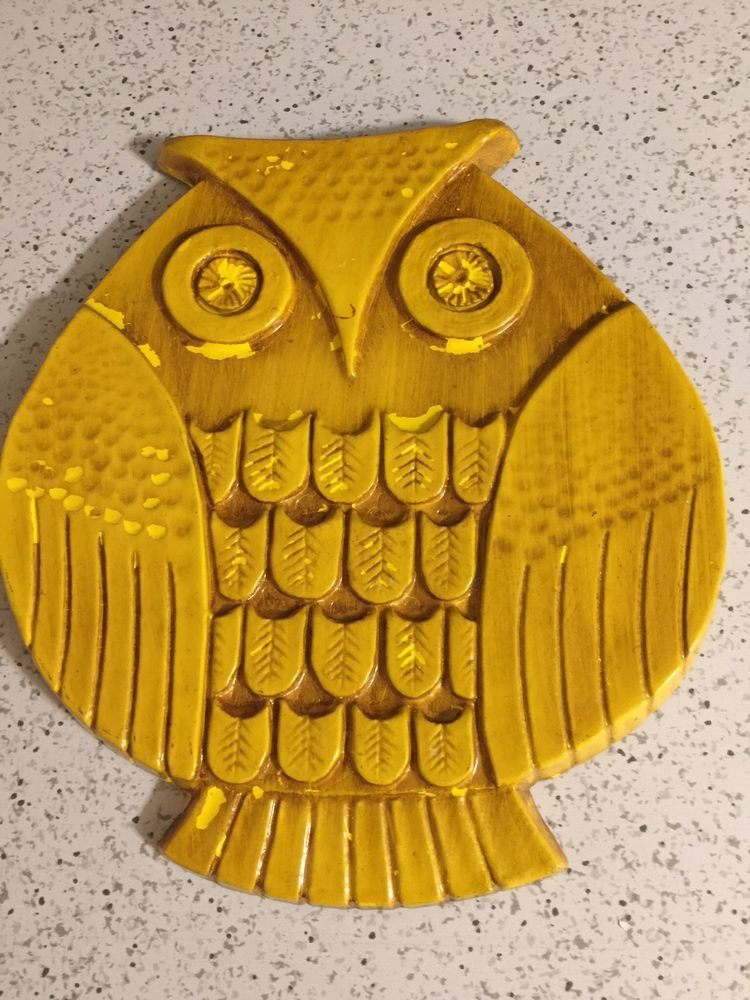 Vintage Syroco Owl Wall Plaque Mid Century Modern Wall Art Yellow ...