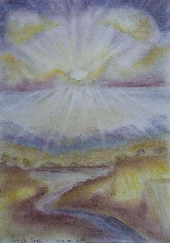 Autumn Sunset Sonnenuntergang im Herbst Zeichnung Kreide Pastell