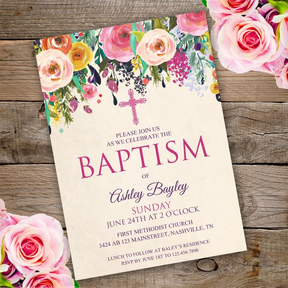 Floral Baptism Invitation Template Edit With Adobe Reader Baptism Invitations Christening Invitations Girl Baptism Girl