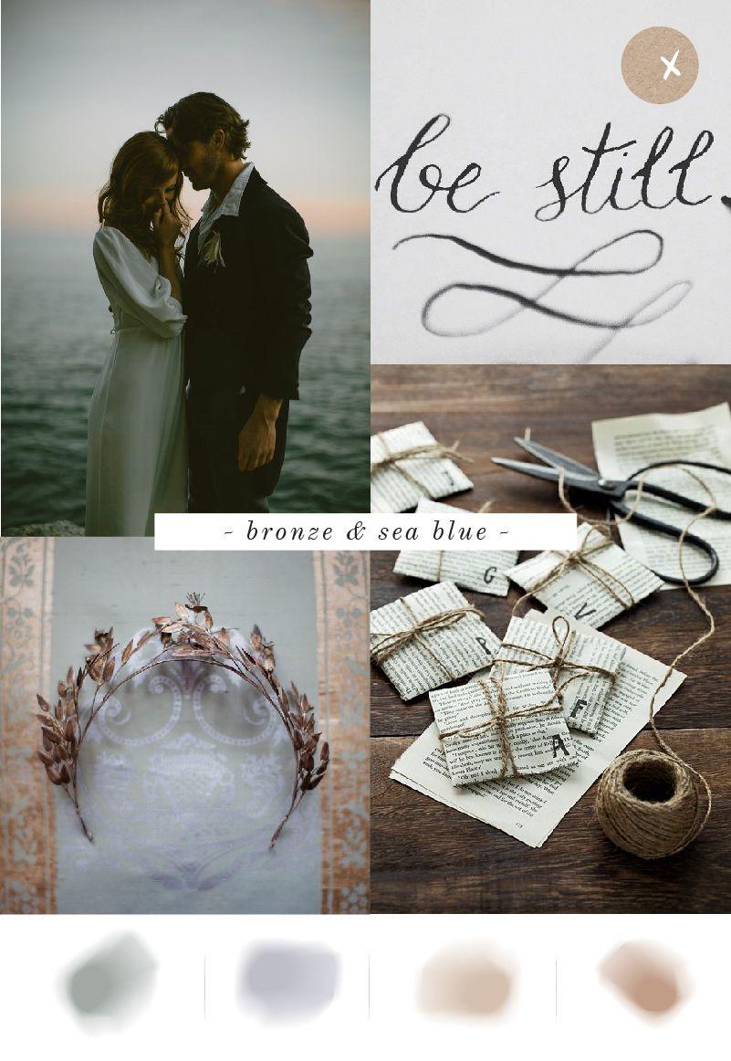Just My Type Wedding Stationery NZ Bronze & Sea Blue