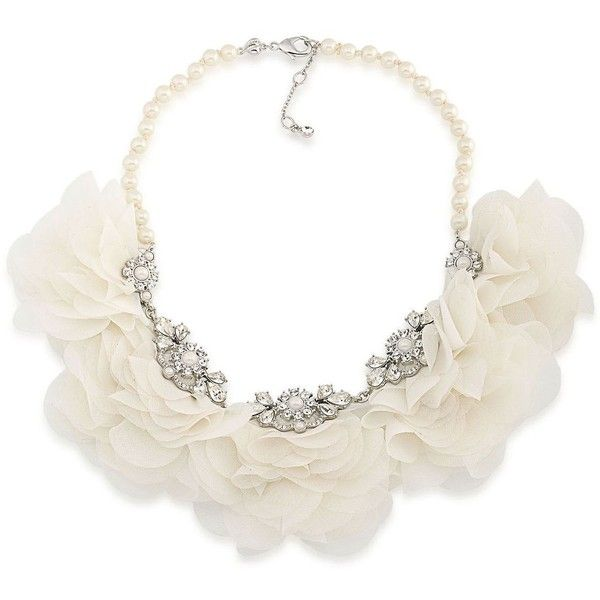 Carolee Icing On The Cake Faux Pearl & Cubic Zirconia Floral Necklace ($125) ❤ liked on Polyvore featuring jewelry, necklaces, white, carolee necklace, flower jewellery, cz jewellery, cz necklace and faux pearl necklace