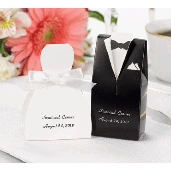 Wedding Favor Boxes | Wedding Favor Boxes Personalized Tux and Gown ZBK4911P