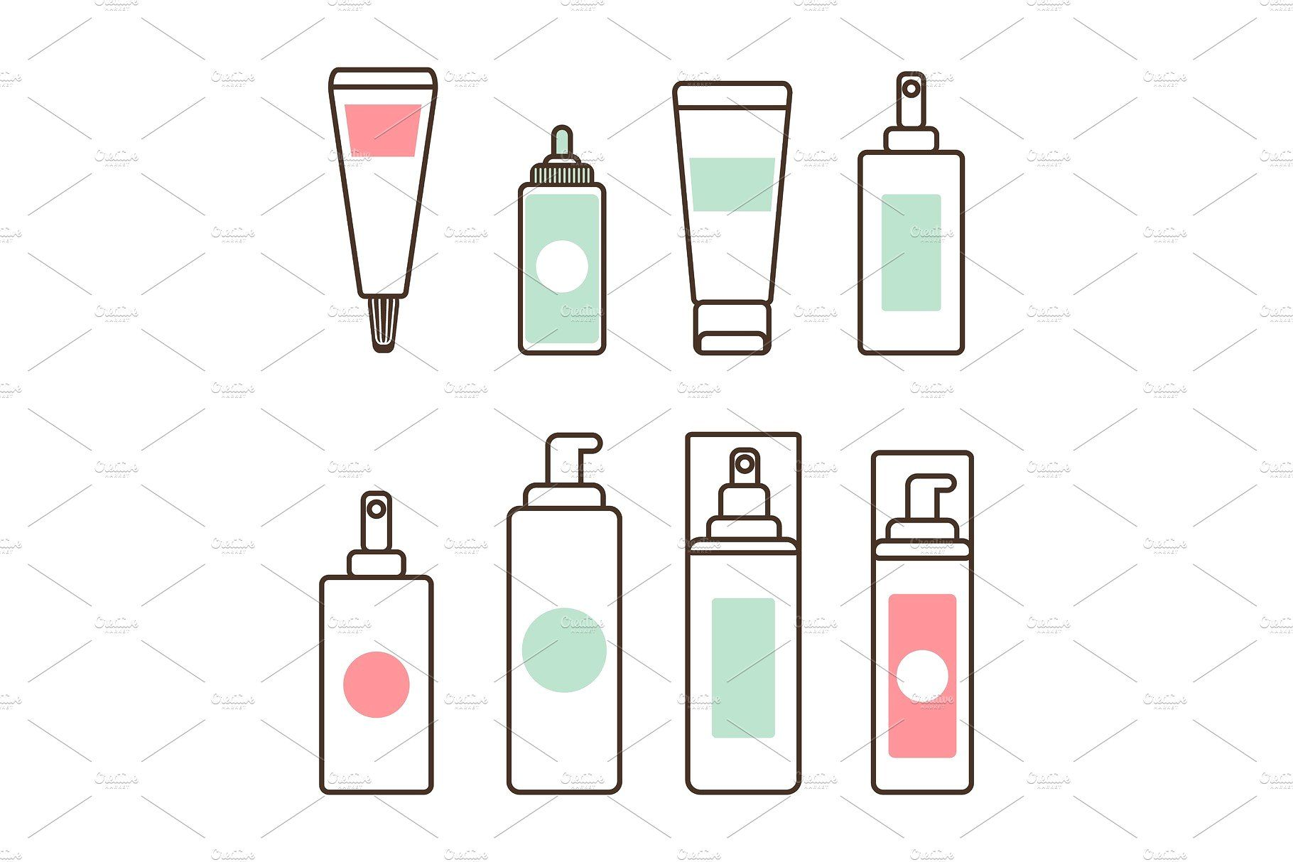 Plastic Tubes And Bottles With Skincare Means Set Cleaning Icons Skin Care Digital Sticker