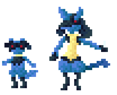 I remade my favorite Pokemon Lucario and Riolu in pixel art.