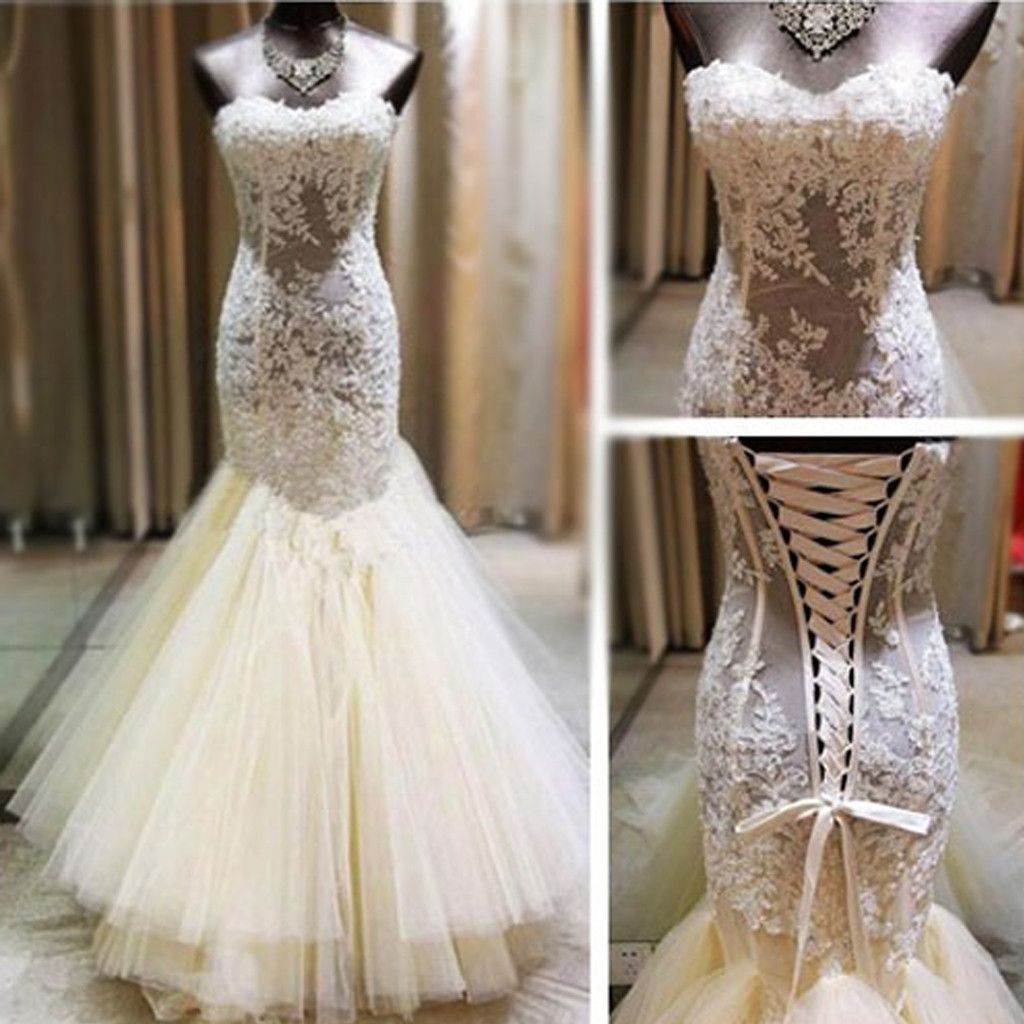 Sexy ivory lace sweetheart see through mermaid tulle wedding party