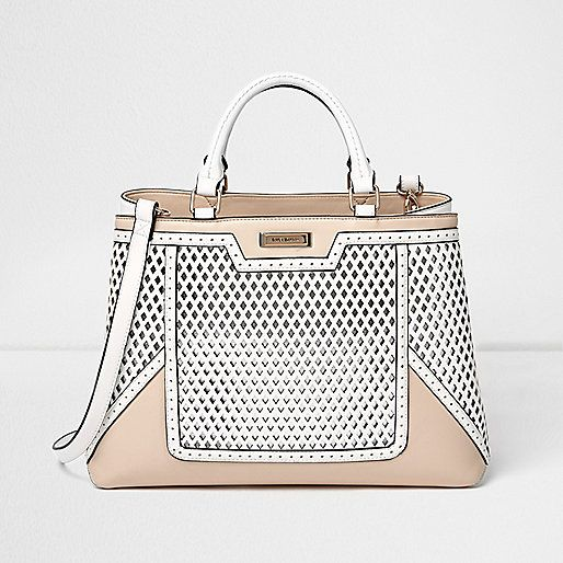 52f62137d021 Cream and white lasercut structured tote - shopper   tote bags - bags    purses - women