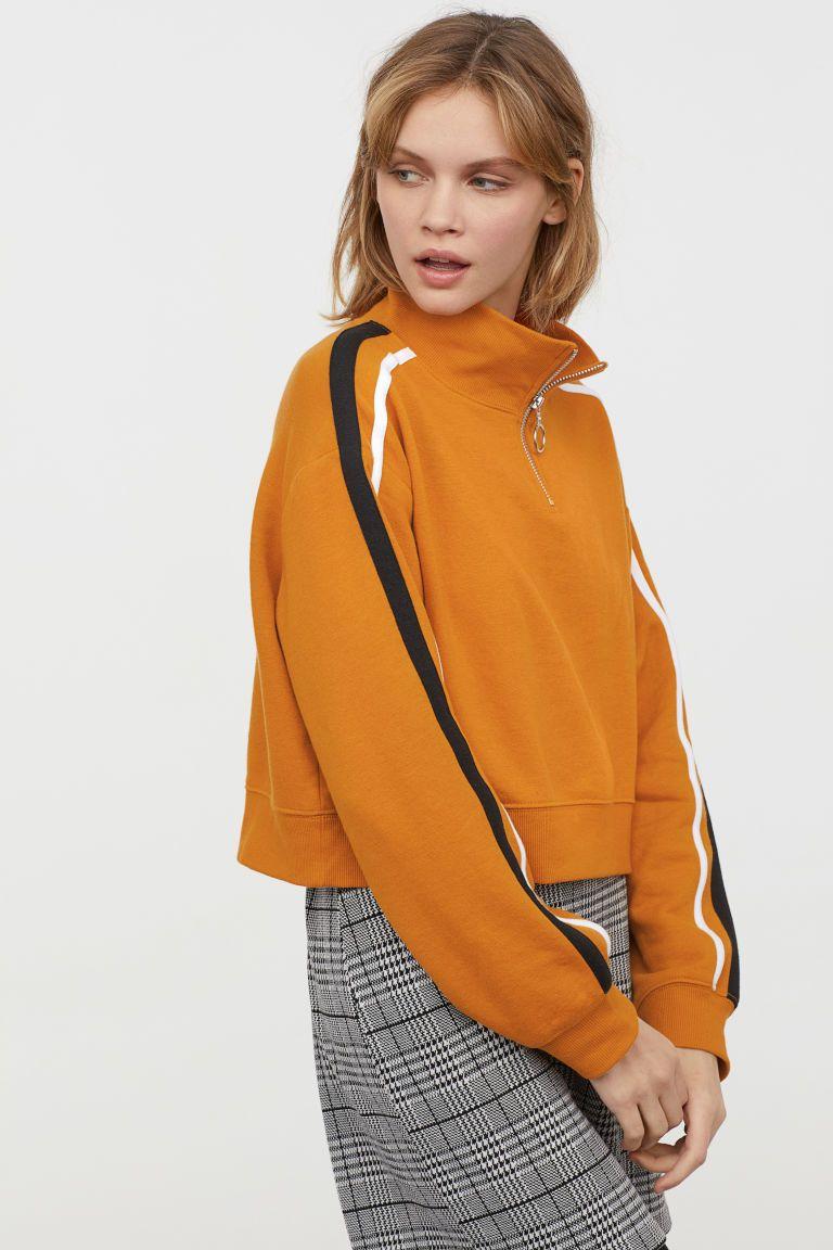 Sweater met geribde halsboord - Mosterdgeel - DAMES  9835811fb