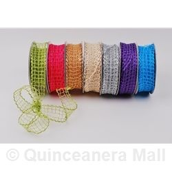 "Quinceanera Mall - 1"" Wired Mesh Ribbon - 25 Yds #RIB25"