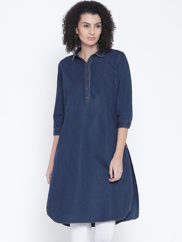 0515e302f8b Shree Navy Blue Solid Denim Pathani Kurta
