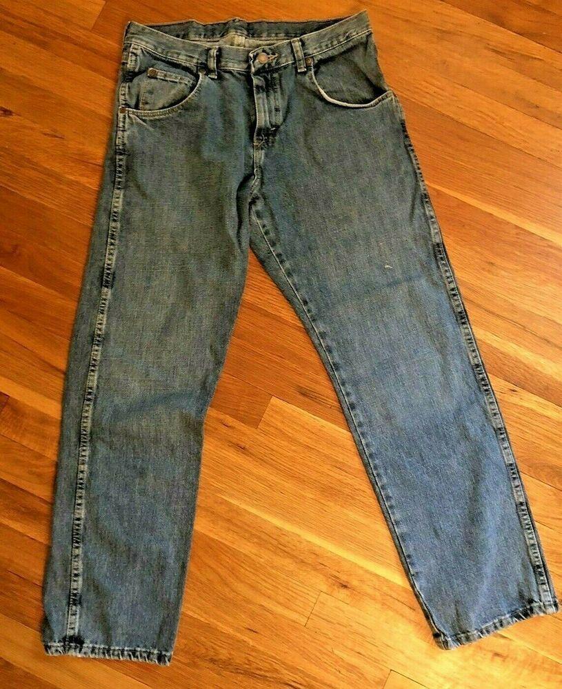 Vintage mens wrangler regular fit medium wash blue jeans