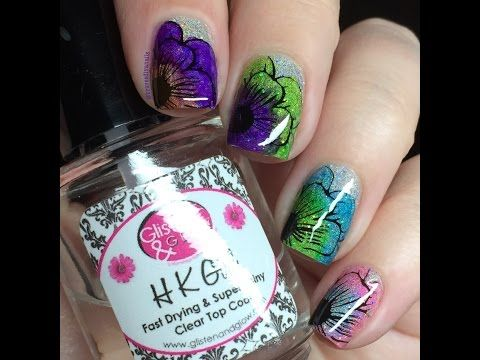 Nail Art Tutorial - Floral Stamping Using Jumbo Clear Stamper & Sharpies Permanent Markers DIY - YouTube