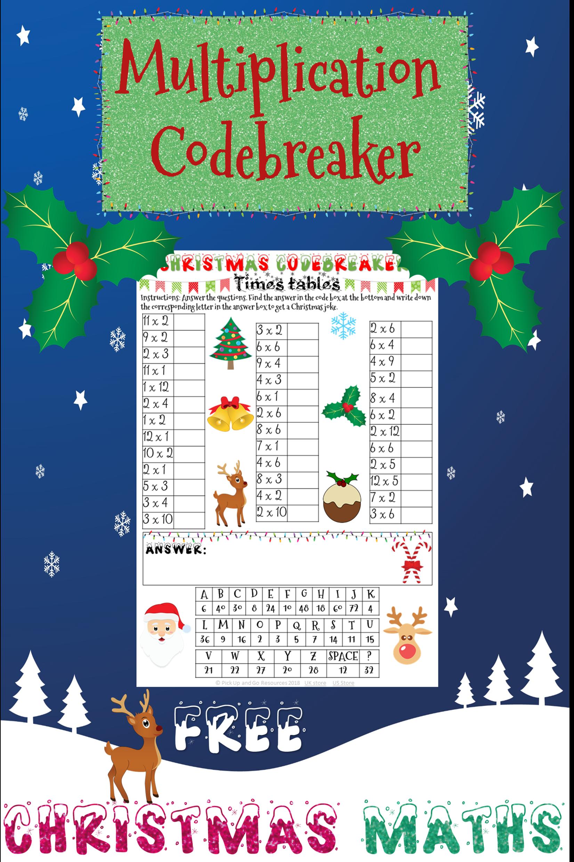 Christmas Maths Multiplication Code Breaker Christmas Math Activities Holiday Math Christmas Math