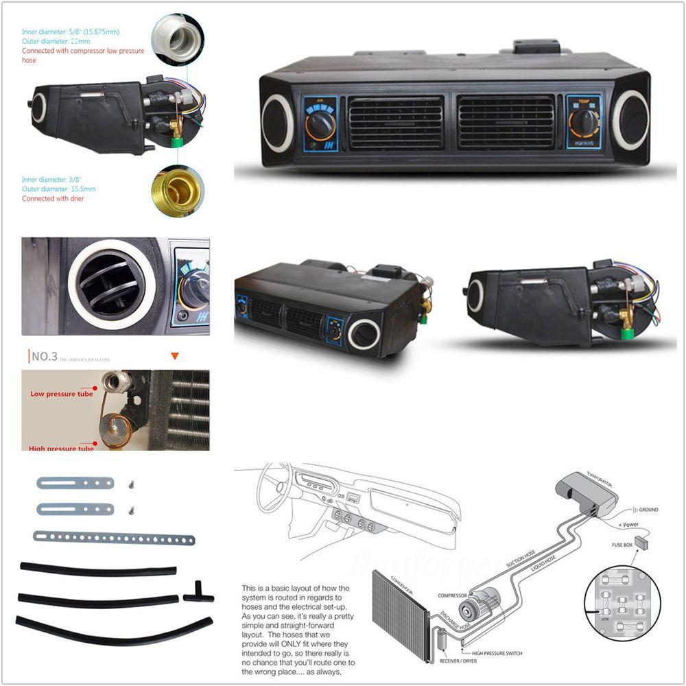 A//C KIT Underdash Evaporator Compressor Air Conditioner 3 Speed 12V Universal