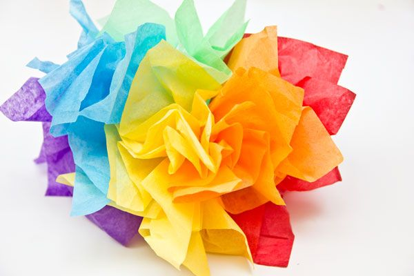 DIY Rainbow Tissue Paper Fascinator For Parties