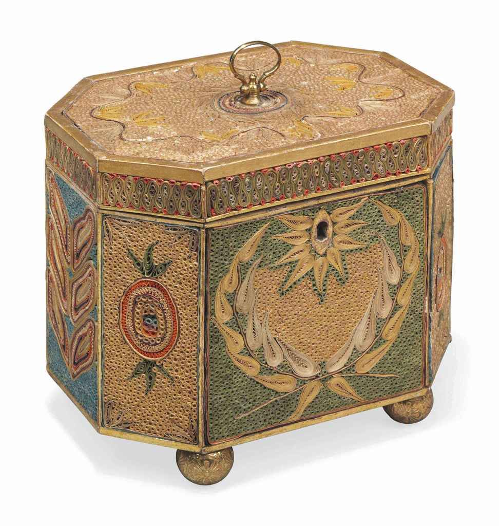 http://m.christies.com/ - A GEORGE III PAPER-SCROLL WORK TEA-CADDY