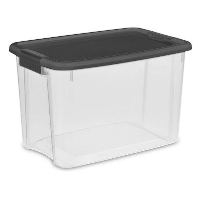 Sterilite 30 Qt Ultra Clear Storage Box With Gray Lid Latches Clear Gray Storage Bins With Lids Storage Bins Plastic Container Storage