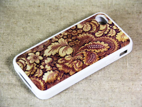 Retro Grunge Floral Print iPhone 4 iPhone 4S Case, Rubber Material Full Protection
