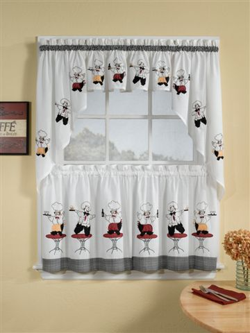 Cheers Is A Charming Appliqued And Embroidered Curtain Which Features Joyful Waiters Dancing On Tables Above A Black White Chec Kitchen Curtains Curtains Cafe Curtains