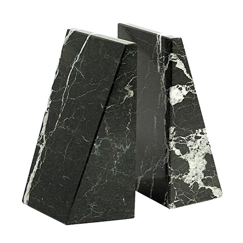 """Mat Sanders, Consort - """"These black and white marble bookends are naturally at home in a stylish and functional living space. Their high-contrast palette makes a bold statement, without stealing the spotlight from a colorful, well-curated book collection."""""""