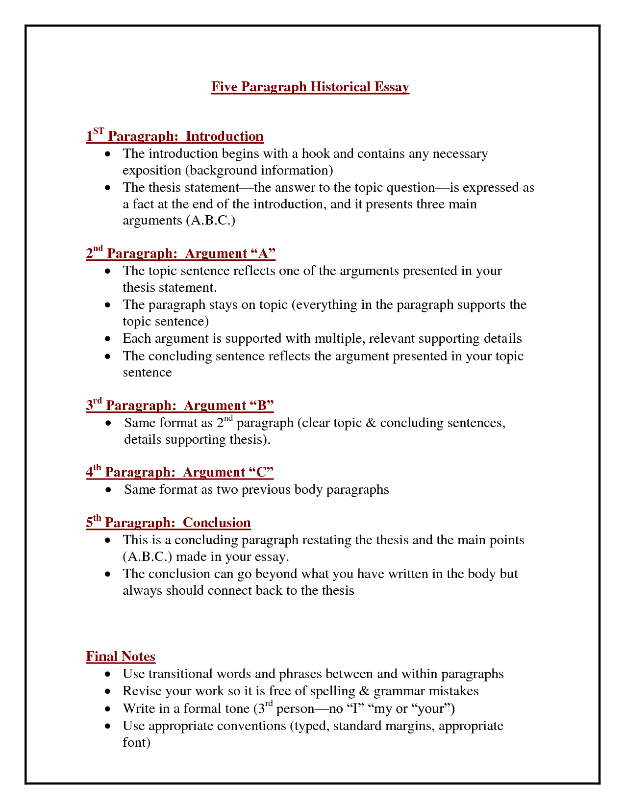 Template For Introduction Paragraph