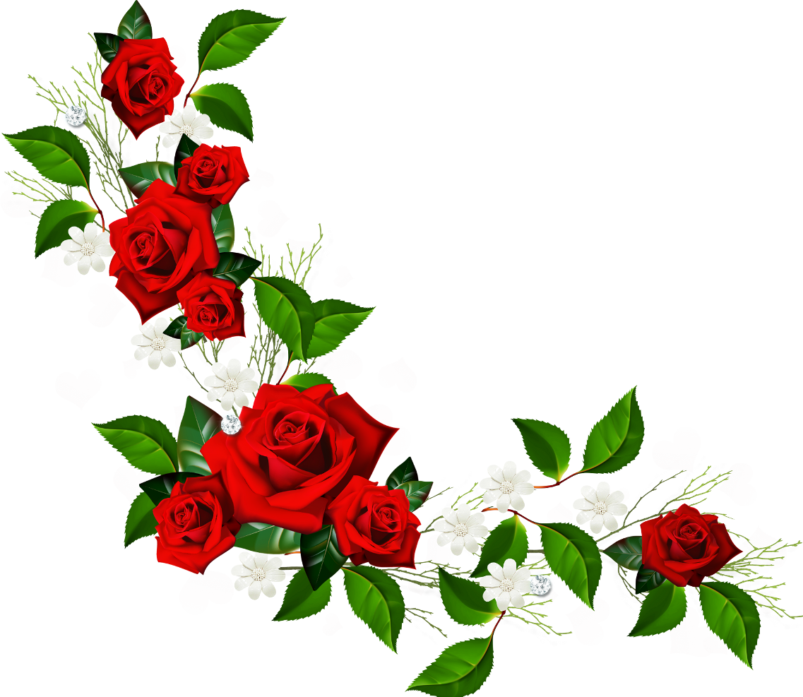 Decorative Element With Red Roses White Flowers And Hearts With Diamonds Rose Clipart Clip Art Borders Flower Frame Png