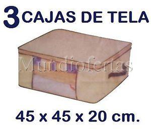 3x Caja Cajas Tela Plastico Plegable Multiusos Organizador Guarda