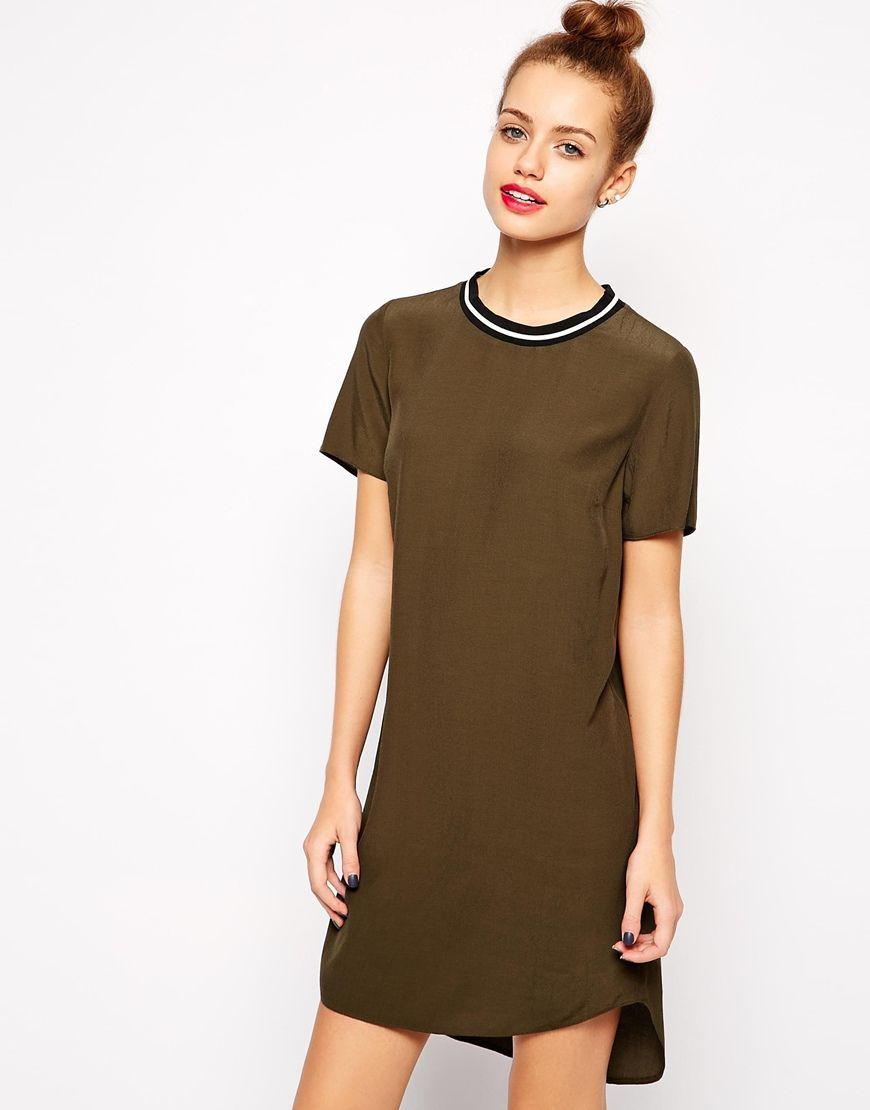 Khaki new look sports ribbed tunic dress style u chic pinterest