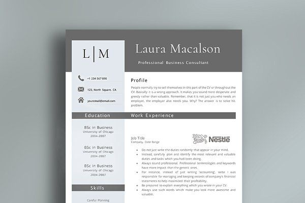 Professional Resume Template  Design    Professional