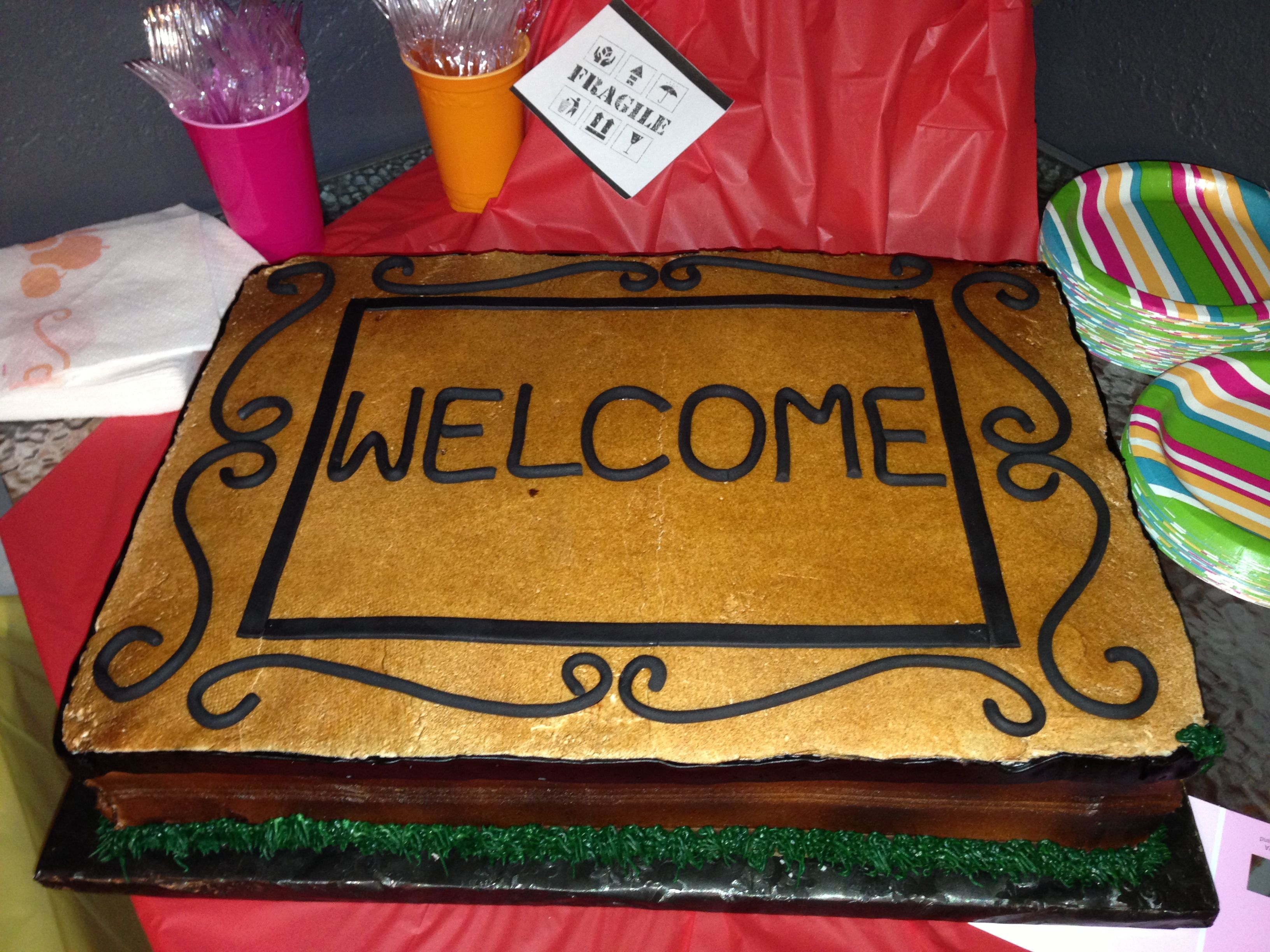 Housewarming cake- Welcome mat made from - Cinnamon Jar ...