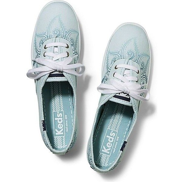 Keds Champion Henna (£36) ❤ liked on Polyvore featuring shoes, sneakers, aqua glass, famous footwear, glass shoes, aqua sneakers and aqua shoes