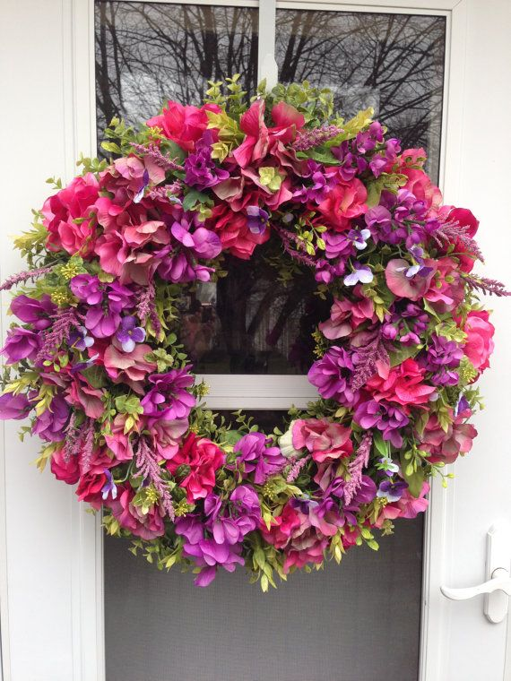 Purple Wisteria & Variegated Pink Hydrangea Bloom Wreath