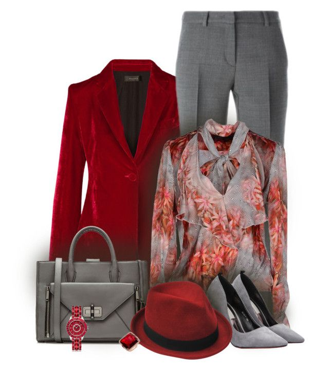 """Office Red"" by seahag2903 ❤ liked on Polyvore featuring E L L E R Y, DKNY, Diane Von Furstenberg, Patrizia Pepe, Stetson, Christian Dior, women's clothing, women's fashion, women and female"