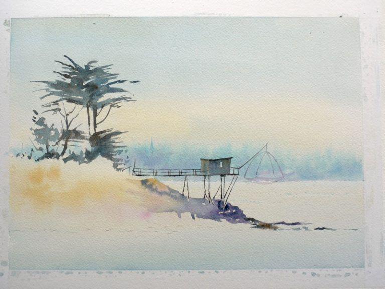 16 Joel Simon Pas A Pas Le Carrelet Mer Paysage Aquarelle