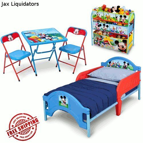 Disneyu0027s Mickey Mouse Clubhouse Bedroom Furniture Set, Toddler Bed With  Sleep Rails, Multi