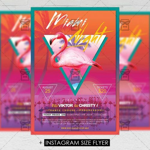 Premium A5 Flyer Template Miami Night Flyer Template And Template