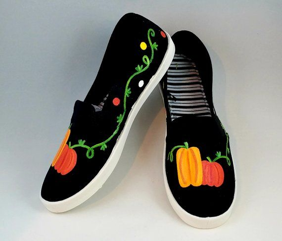 3eed71f691499 Hand PAINTED SHOES, Fall Shoes, Pumpkin Shoes, Thanksgiving ...