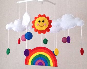 Baby Mobile - Cot Mobile - Sun, rainbow and clouds Mobile - Cloud Mobile - Nursery Decor