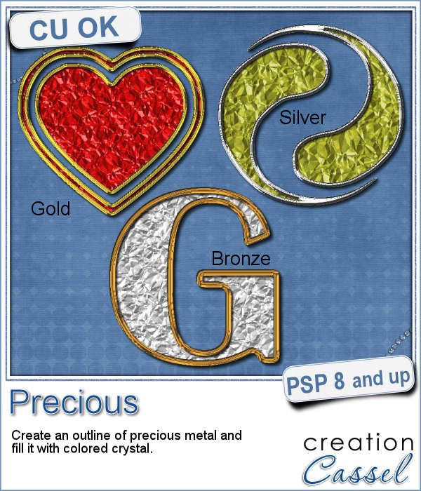 If you want some precious metal elements, you can create them with