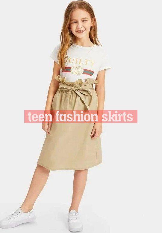 Girls Paperbag Waist Skirt With Belt Kidenhouse