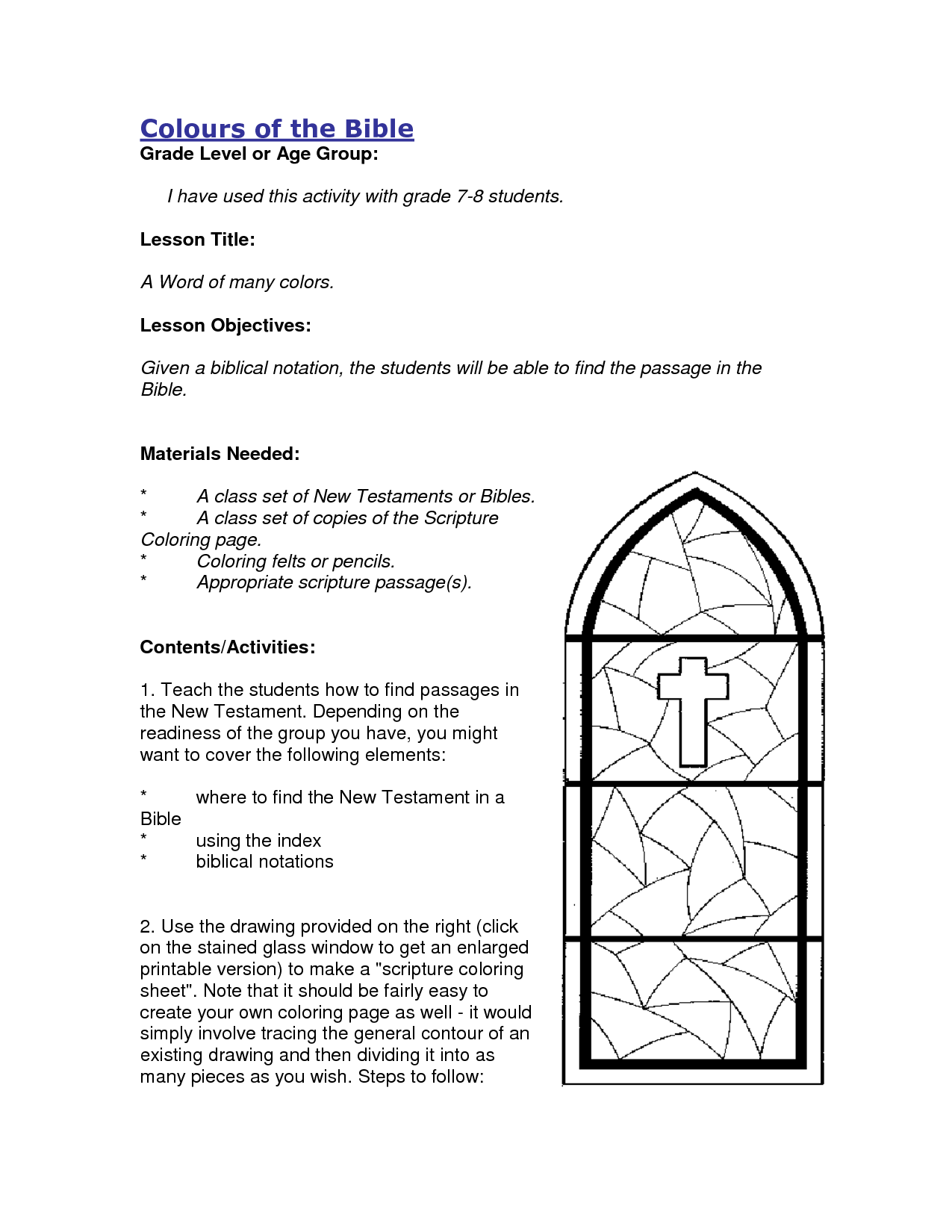 The Bible Activities For Kids