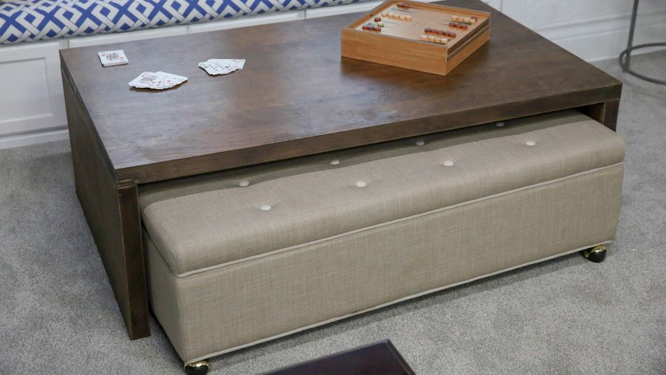 Create Space And Seating With This Coffee Table And Rolling Ottoman Rolling Ottoman Home Made Simple Ottoman